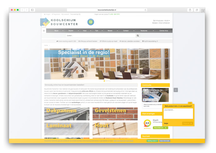 Bouwmaterialen webwinkel
